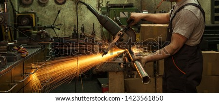 Industrial Industrial Industry Iron Production Workshop Working Factory Craftsman Hands Cutting Iron Bouncing Lights Yellow Workshop.