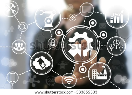 Industrial integration automation modernization business internet concept. Gear arrow industry 4 manufacture engineering technology