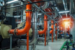 Industrial interior chiller and boiler HVAC heating ventilation air conditioning system and pipping line of industrial construction at boiler pump room system in the factory