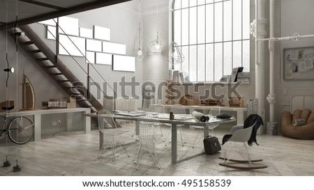 Industrial interior, office design, 3D illustration