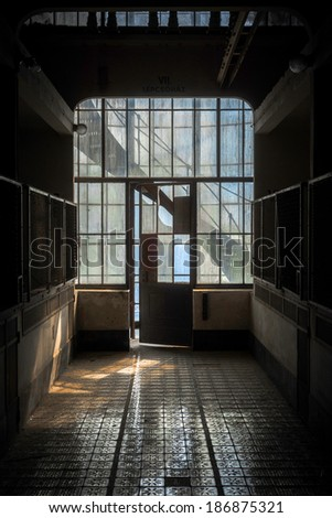 Industrial interior with br light from the windows #186875321