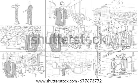 Industrial interiors storyboard with a man