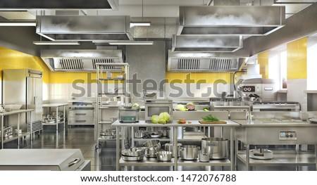 Industrial kitchen. Restaurant modern kitchen. 3d illustration Stock photo ©