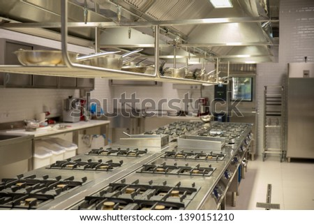 Industrial kitchen with stainless steel counters