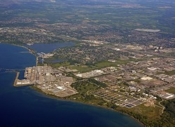 industrial landscape aerial, view of the Pickering nuclear generating station in Ontario Canada