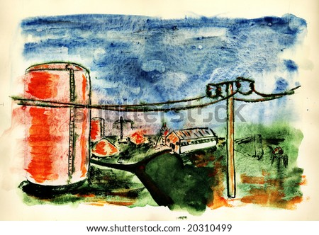 Industrial landscape. Watercolors paint on the white paper. Handmade.