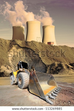 Industrial landscape with big excavator. Environmental concept.
