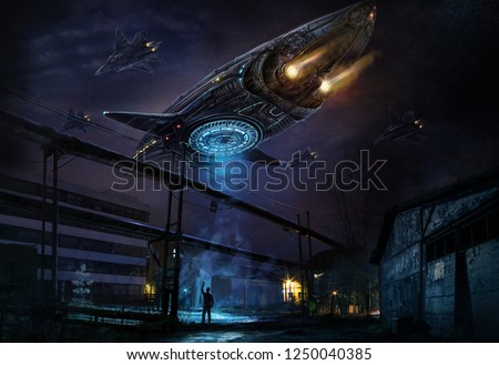 Industrial landscape with strange flying object resembling a spaceship, accompanied by a column of planes and a man filming everything on a mobile phone camera. Digital concept art.