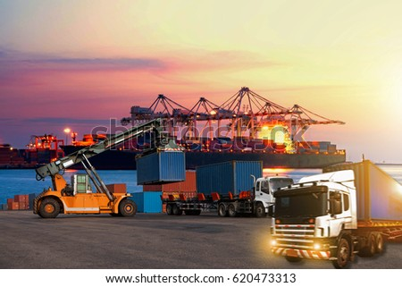 Industrial logistics and transportation of Container truck in ship  in ship port for logistic and Cargo business plane