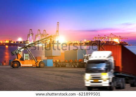 Industrial logistics and transportation of Container truck in ship port for logistic and Cargo business plane #621899501