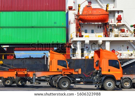 Industrial logistics and transportation of truck in Container yard for logistic and Cargo business in the shipping port