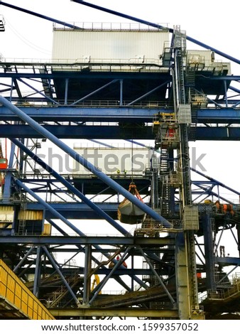 Industrial machinery, cranes and cargo industry port