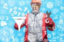Industrial man clicks a funnel with filtering numbers zero one and offers a spanner. Digital Data Filter Industry Digitilization concept. Manufacture Structuring Information.