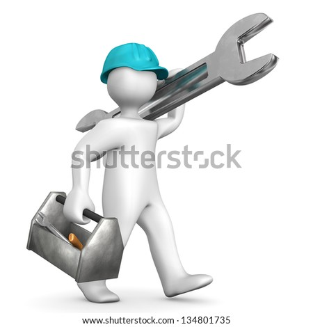 Industrial mechanic with helmet, toolbox and spanner.