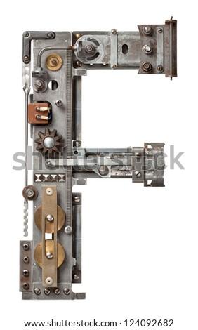 Industrial metal alphabet letter F Foto stock ©