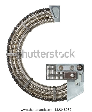 Industrial metal alphabet letter G