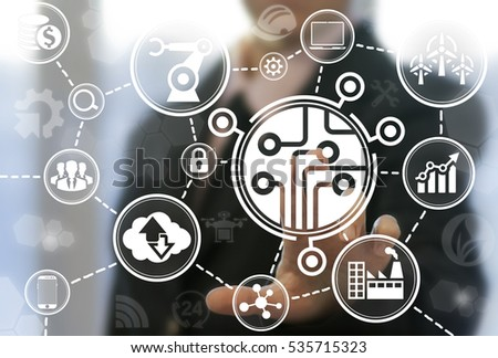 Industrial microchip cpu microcircuit computing modernization business internet concept. Processor industry 4.0 manufacture engineering automation chip semiconductor logic smart hardware technology