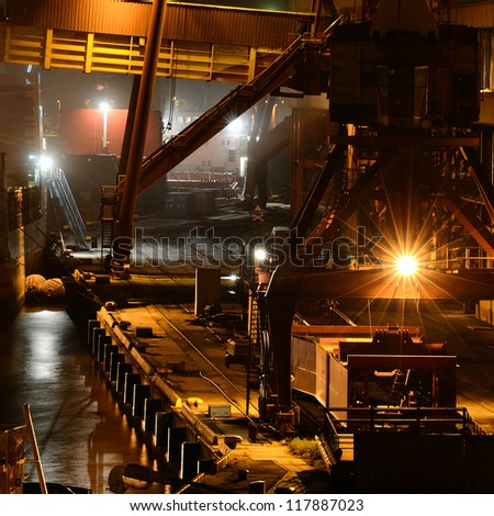 industrial night scene at the cargo port