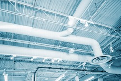 Industrial of White air condition system of pipes and fans on ceiling