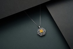 Industrial photography of necklaces. Precious jewelry