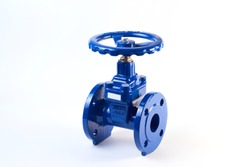 Industrial pipeline wedge gate valve with rubber wedge on a white background. Butterfly valve with reducer isolated on white background. Manual valve.