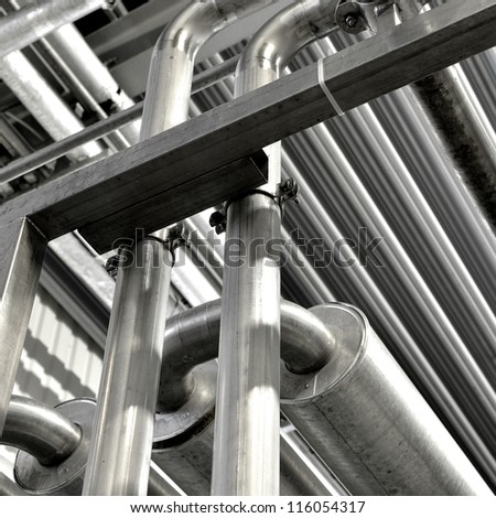 Industrial pipelines and other equipment at the factory