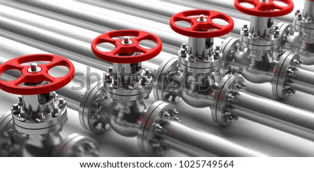 Industrial pipelines and valves with red wheels on white background. Closeup view with details. 3d illustration