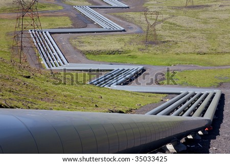 Industrial pipework at a Geothermal power station in Iceland in the Krafla Volcanic region of Iceland.