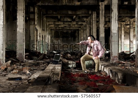 industrial place and man in pink shirt