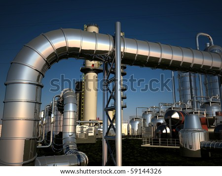 Industrial Plant afternoon against the sky - stock photo