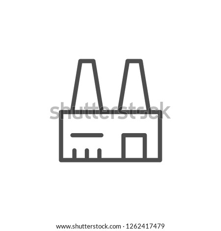 Industrial plant line icon isolated on white