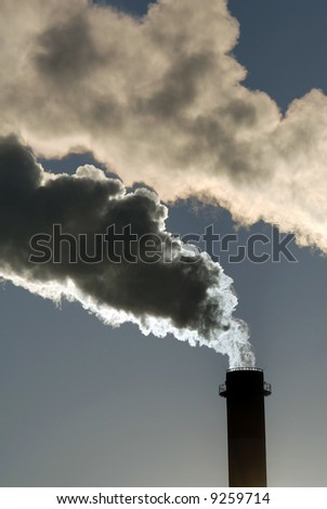 Industrial pollution, dangerous toxic smoke clouds from the chimney