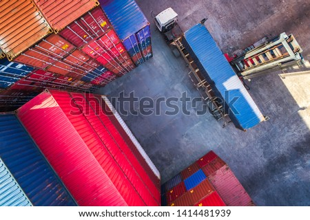 Industrial port crane lift up loading export containers box onboard from truck at port of Thailand,The port crane type's twin lift is the best solution for port operations