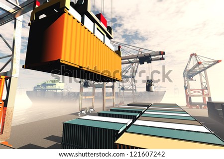 Industrial Port 3D render