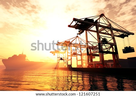 Industrial Port in sunset sunrise 3D render