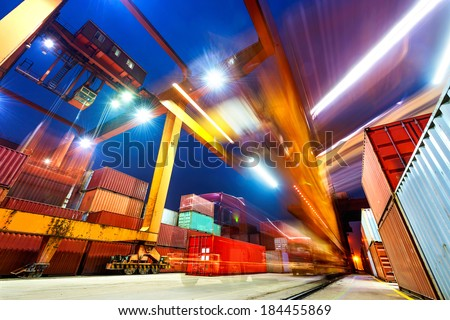 industrial port with containers