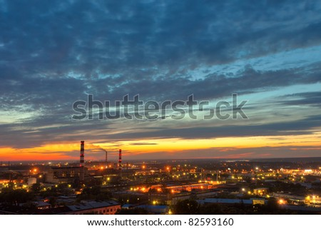 industrial power plant night landscape with lights