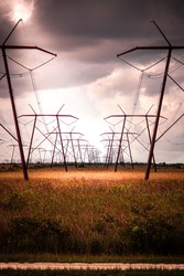 Industrial powerlines over Everglades national park