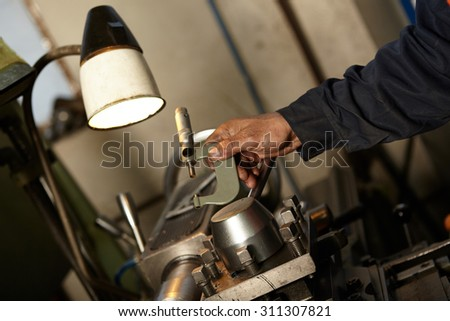 Industrial production . Turning works . Manufacturing of parts. Lathe. Details.