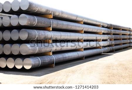 industrial raw materials, heap of aluminium bar in aluminium profiles factory. #1271414203