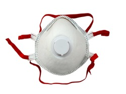Industrial respirator with valve protects against dust isolated on white background