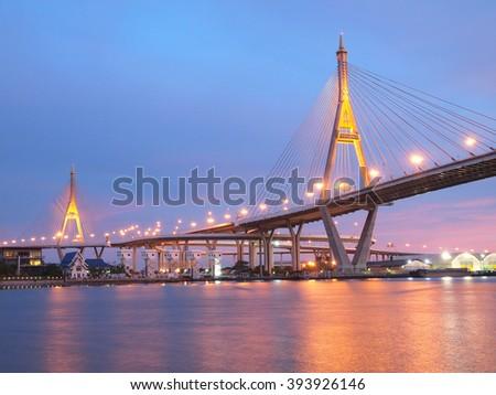 Industrial Ring Bridge or Mega Bridge,at night in Bangkok , Thailand #393926146