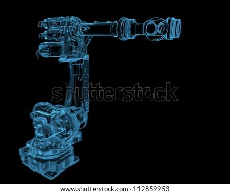 Industrial robot (3D xray blue transparent)