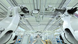 Industrial Robot Factory, Lots Of Robots