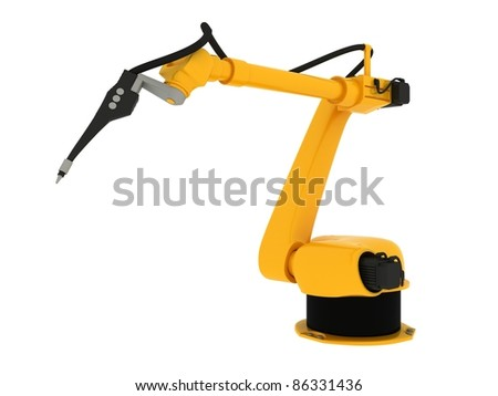 Industrial Robot Isolated On White