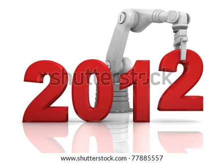 Industrial robotic arm building 2012 year isolated on white background