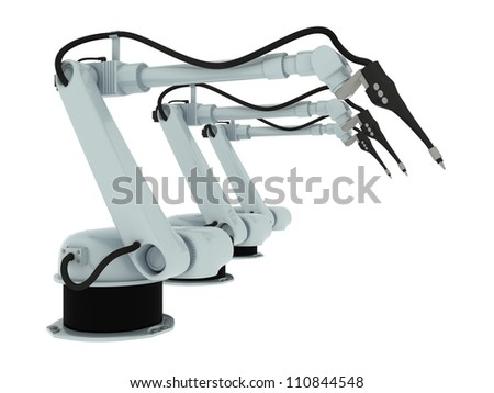 Industrial Robotic Arm Isolated On White background