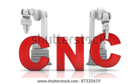 Industrial robotic arms building CNC word on white background