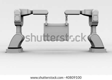 industrial robotic arms holding a frame