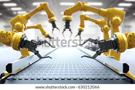 Industrial robotic arms with empty conveyor belt 3D rendering